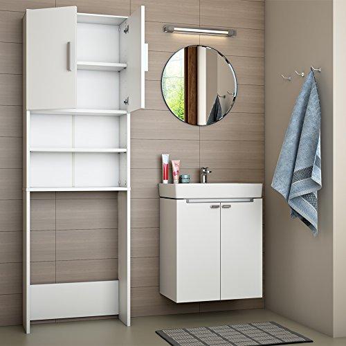VICCO Waschmaschinenschrank Weiß 190 x 64 cm - Badregal Hochschrank ...